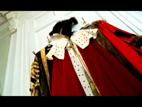 cu low angle, lord mayor's gown hanging up, london, england - mayor stock videos & royalty-free footage