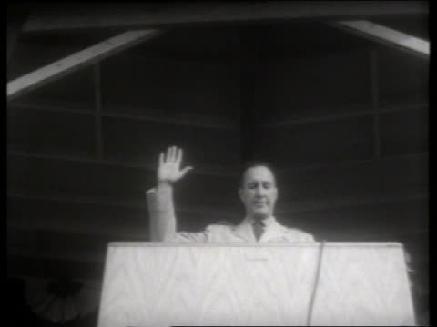b/w low angle man at podium giving oath to air force recruits / lowry air force base, denver / 1950's  / so - oath stock videos & royalty-free footage