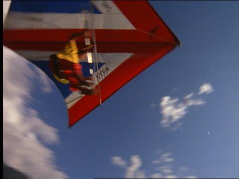 low angle man hang gliding pass camera above coastline