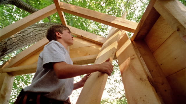 vídeos de stock, filmes e b-roll de low angle medium shot boy pushing board through roof of treehouse - treehouse