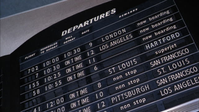 low angle medium shot flight departures board w/flight information changing / lax airport - information sign stock videos & royalty-free footage