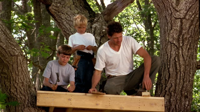 Low angle medium shot man and two boys hammering + sawing on platform in tree