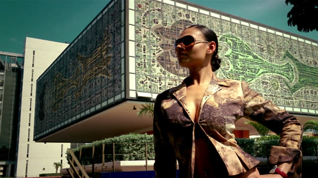 low angle medium shot model wearing sunglasses posing in front of building with mosaic design - afro caribbean ethnicity stock videos and b-roll footage