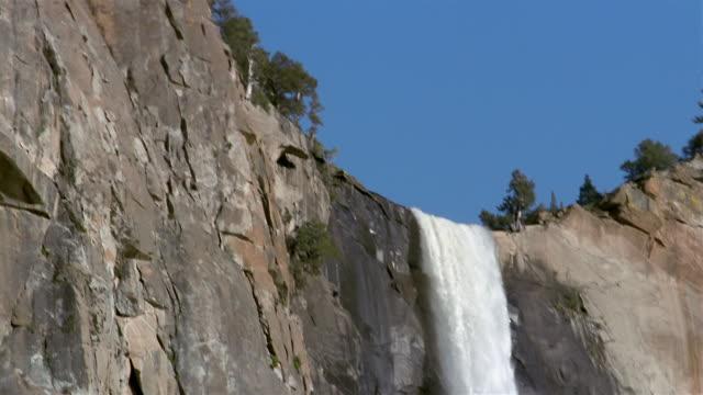 Low angle medium shot pan across rock face and down Yosemite Falls / Yosemite National Park, California