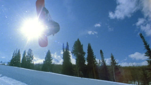 Low angle medium shot snowboarder jumping off of half pipe w/pine trees and blue sky in background / Colorado, USA