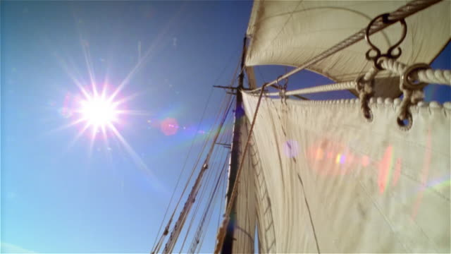 low angle medium shot tilt down from ship's mast to first mate looking out on water - nur junge männer stock-videos und b-roll-filmmaterial
