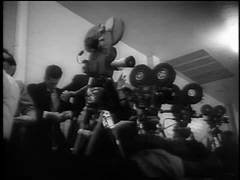 b/w 1961 low angle news cameras at stanley cup / detroit / newsreel - 1961 stock videos and b-roll footage