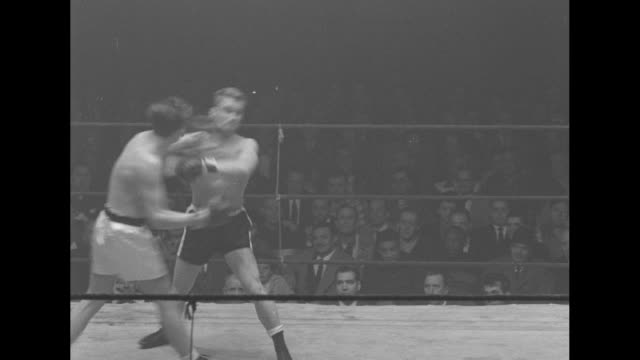 low angle of boxers pummeling each other light overhead / africanamericans fighting in corner / three men in audience / two boxers/ man with... - polo shirt stock videos & royalty-free footage