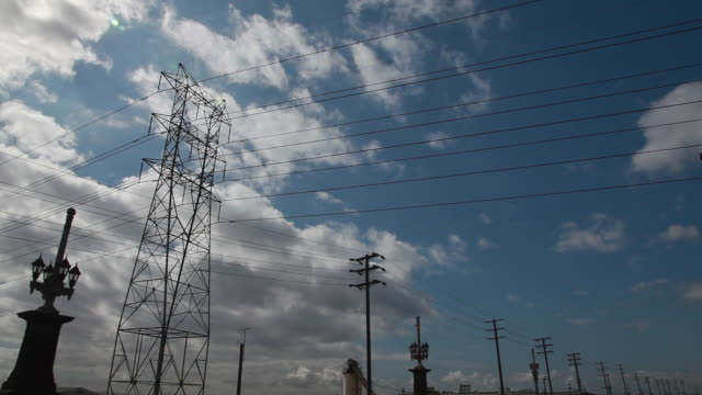 Low Angle of the 7th Street Bridge and power lines in Los Angeles