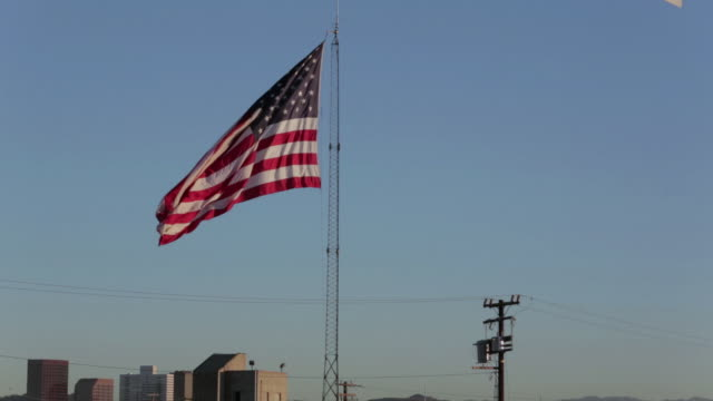 low angle of the american flag - telephone pole stock videos & royalty-free footage