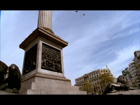 cu low angle, pan left across base of nelson's column and lions, london, england - colonna architettonica video stock e b–roll