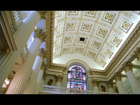mwa low angle pan right across ceiling of lord mayors chambers, london, england - intricacy stock videos & royalty-free footage