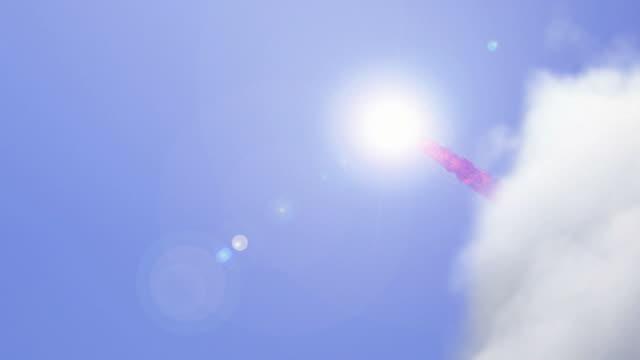 vídeos y material grabado en eventos de stock de low angle pan-left tilt-up zoom-in zoom-out - a rocket leaves a red contrail above a desolate landscape. / chicago, illinois, usa - meteorito espacio