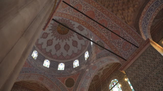low angle panning beautiful inside architecture dome view of touristic landmarks from mosque in istanbul- süleymaniye mosque, decorated  an ottoman imperial mosque and turkish culture turkey - ottoman stock videos & royalty-free footage