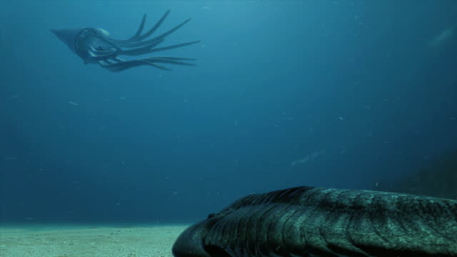 Low Angle pan-right - A prehistoric octopus undulates above another massive prehistoric sea creature. /