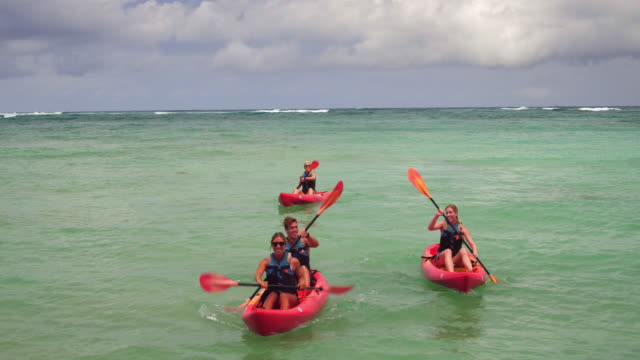 low angle reverse tracking shot of four people kayaking in the ocean - kahuku stock videos & royalty-free footage