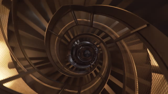 low angle rotation view: ladder in tower, innsbruck, austria - spiral stock videos & royalty-free footage
