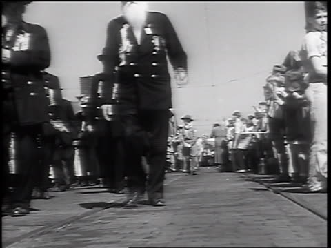 b/w 1932 low angle senior male civil war veteran walking in parade / springfield il - 1932 stock videos & royalty-free footage