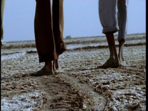 vídeos y material grabado en eventos de stock de mcu low angle, several pairs of feet treading salt into mud, gujarat, india - pisada