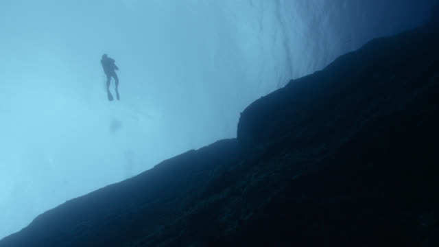 low angle shot of a diver swimming away from top of yonaguni monument. japan - finding stock videos and b-roll footage