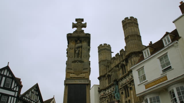 Low angle shot of a stone memorial near the Christ Church Gateway, Canterbury.
