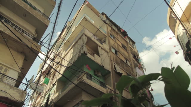 Low angle shot of an apartment building in the city of Beirut.