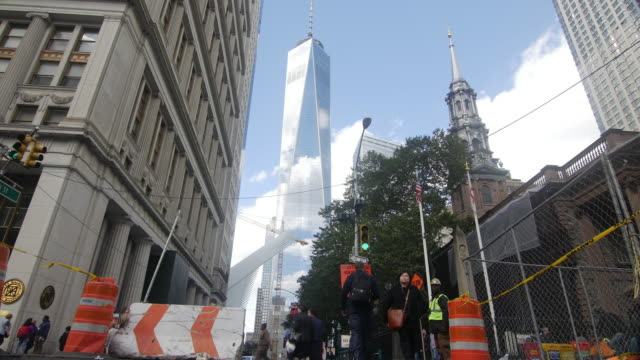 low angle shot of freedom tower in new york city - traffic cone stock videos & royalty-free footage