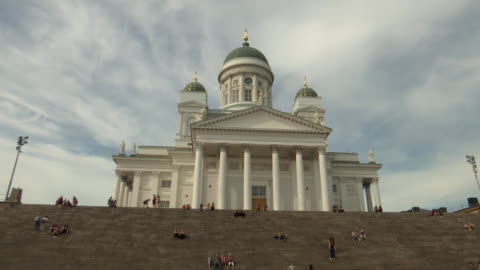 low angle shot of helsinki cathedral from helsinki senate square in helsinki, finland on july 13, 2018. - music or celebrities or fashion or film industry or film premiere or youth culture or novelty item or vacations stock videos & royalty-free footage