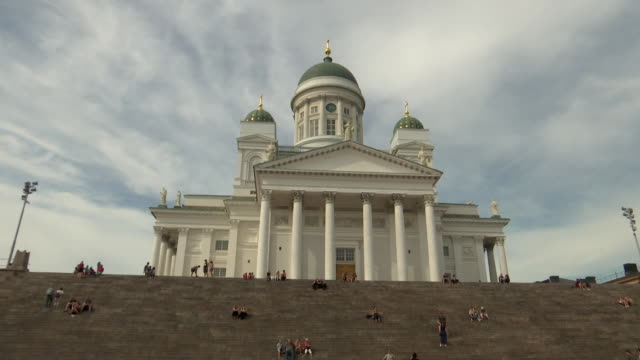 low angle shot of helsinki cathedral from helsinki senate square in helsinki finland on july 13 2018 - music or celebrities or fashion or film industry or film premiere or youth culture or novelty item or vacations bildbanksvideor och videomaterial från bakom kulisserna