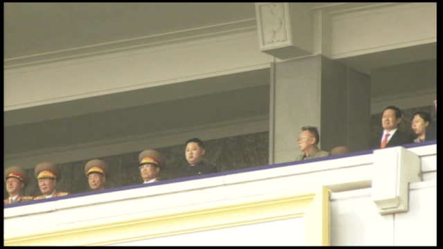 low angle shot of kim jongun kim jongil and officials on balcony - 2010 stock videos & royalty-free footage