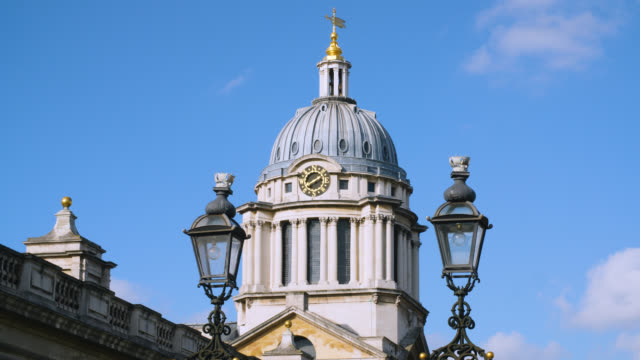 low angle shot of king william court at the old royal naval college in greenwich, london - royal navy college greenwich stock videos & royalty-free footage
