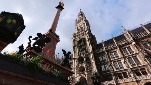 Low angle shot of 'New Town Hall,' located in Marienplatz- the city centre of Munich