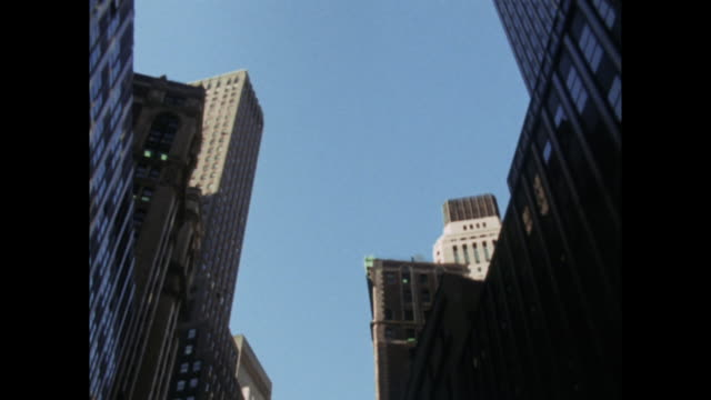 low angle shot of new york office buildings; 1971 - directly below stock videos & royalty-free footage