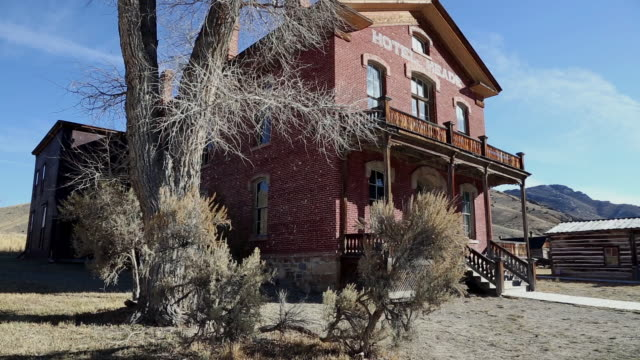 low angle shot of old abandoned brick hotel in ghost town of bannack, mt with cottonwood tree next to it. - cottonwood tree stock videos and b-roll footage