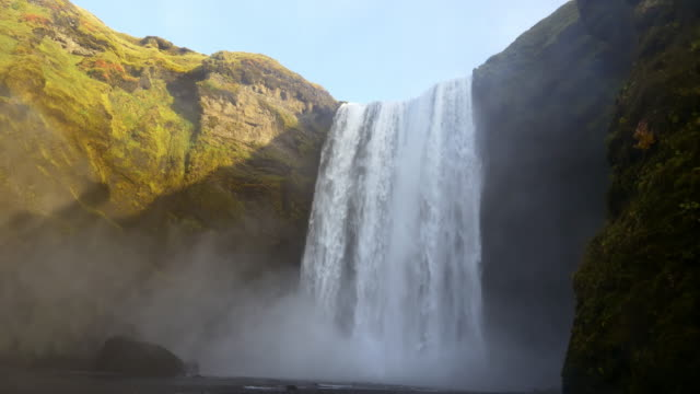 Low angle shot of Skogafoss waterfall in Iceland