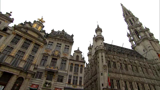 low angle shot of the belgian brewers museum and the brussels town hall in brussels belgium on july 10 2018 - music or celebrities or fashion or film industry or film premiere or youth culture or novelty item or vacations bildbanksvideor och videomaterial från bakom kulisserna
