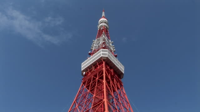 low angle shot of top section of tokyo tower / tokyo - tokyo tower stock videos and b-roll footage