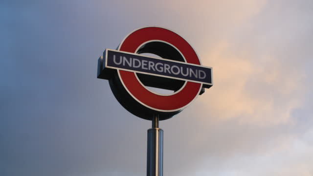 Low angle shot on a London Underground sign.