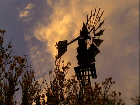 MCU low angle, Silhouetted windmill turning against clouds, sunset light