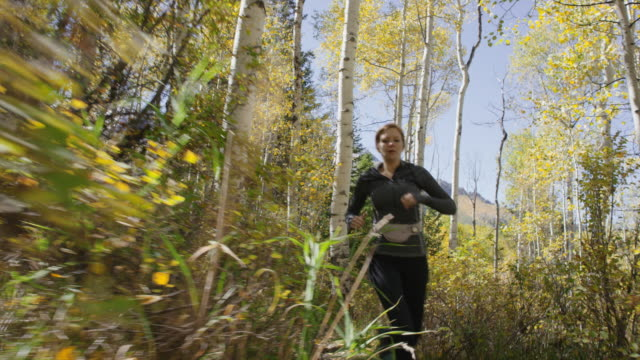 low angle slow motion tracking shot of runner on remote trail / american fork canyon, utah, united states - 避ける点の映像素材/bロール