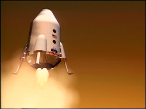 computer animated low angle space capsule/mars lander with feet out landing on mars - landing touching down stock videos & royalty-free footage