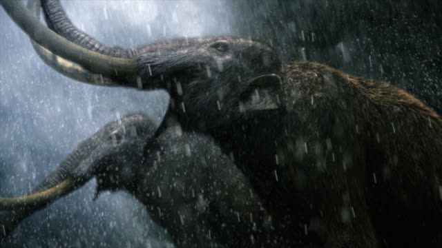 Low Angle static - Two mastodons bellow as it rains and water splashes around them. / Dallas, Texas, USA
