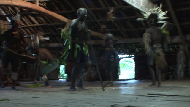 low angle static - villagers in costumes dance in a spirit house. / papua new guinea - traditional ceremony stock videos and b-roll footage
