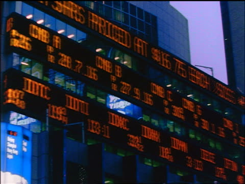 low angle stock prices on ticker board on side of building / Times Square, NYC