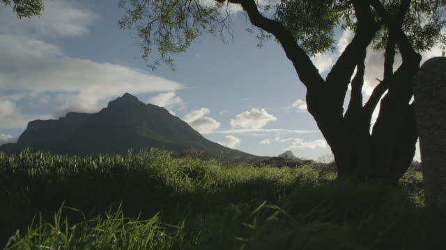 Low angle, Table Mountain landscape in slow motion
