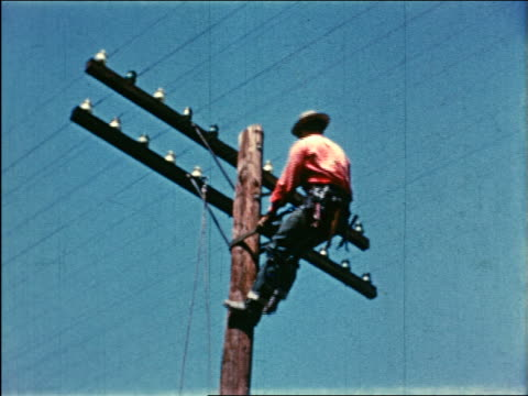 vídeos y material grabado en eventos de stock de 1950 low angle telephone repairman perched on telephone pole / industrial - línea telefónica