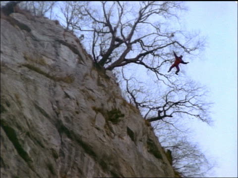 Low Angle Tilt Down Person Base Jumping Off Tree On Cliff