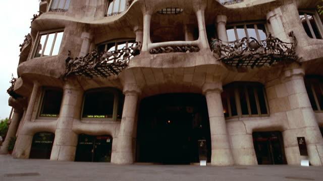 low angle tilt up tilt down Casa Mila (Gaudi) / Barcelona, Spain