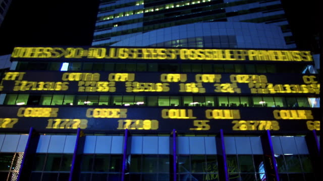 low angle time lapse digital stock ticker board on building exterior at night / NYC