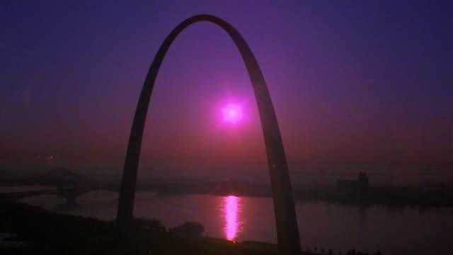 Low Angle Time Lapse Sunrise Behind Gateway Arch St Louis Missouri